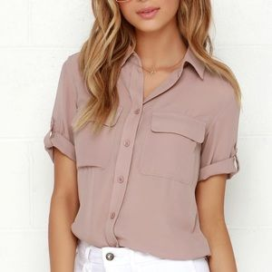 Lulus mauve button up t shirt blouse